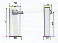 Габаритные размеры автоматического шлагбаума GARD6000: длина стрелы 6000 мм