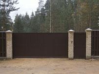 Сдвижные ворота с зишивкой профлист