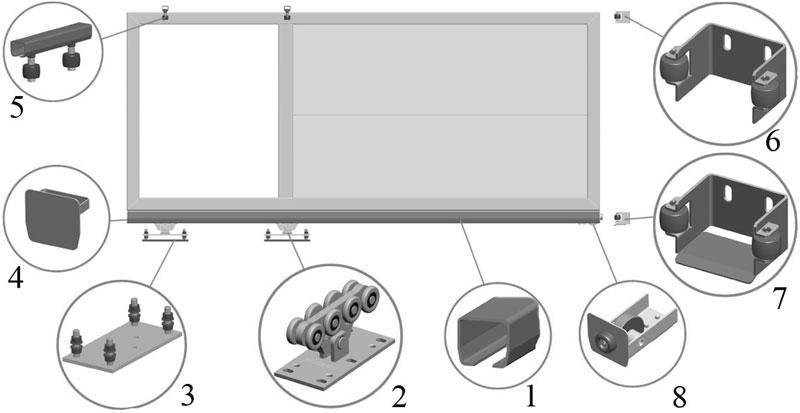 Схема расположение фурнитуры для откатных   ворот
