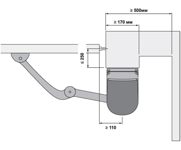 Схема установки рычажного